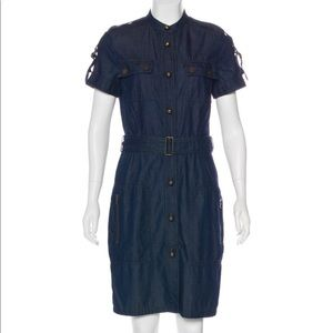 Lanvin Acne dark denim jean dress shirt dress 38